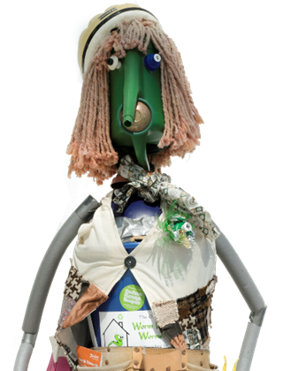 Reduce, person made out of recyclable materials from watering can and textiles