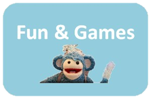 text saying 'Fun & Games' and picture of re-use animal