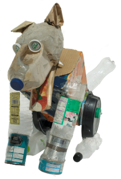 Rebel, dog made of re-use materials, bottles, cardboard, cartons