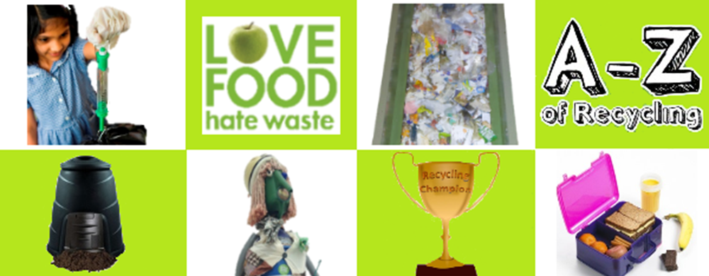banner with various pictures showing recycling, composting bins, recycling process, re-use and love food hate waste